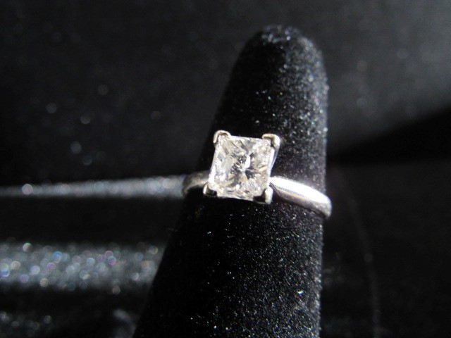 Lady's Diamond Solitaire Ring .75 CT. 14K White Gold 2.1g Size:5.5