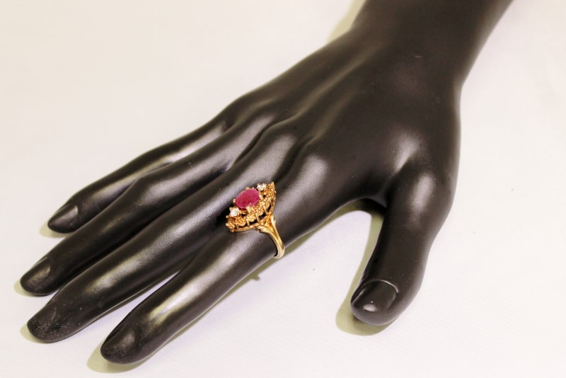 10K Yellow Gold Vintage Inspired Oval Ruby & Diamond Art Deco Shield Ring 5.75