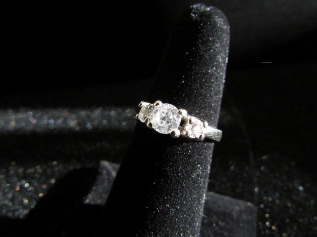 Lady's Gold-Diamond Anniversary Ring 3 Diamonds .60 Carat T.W. 14K White Gold