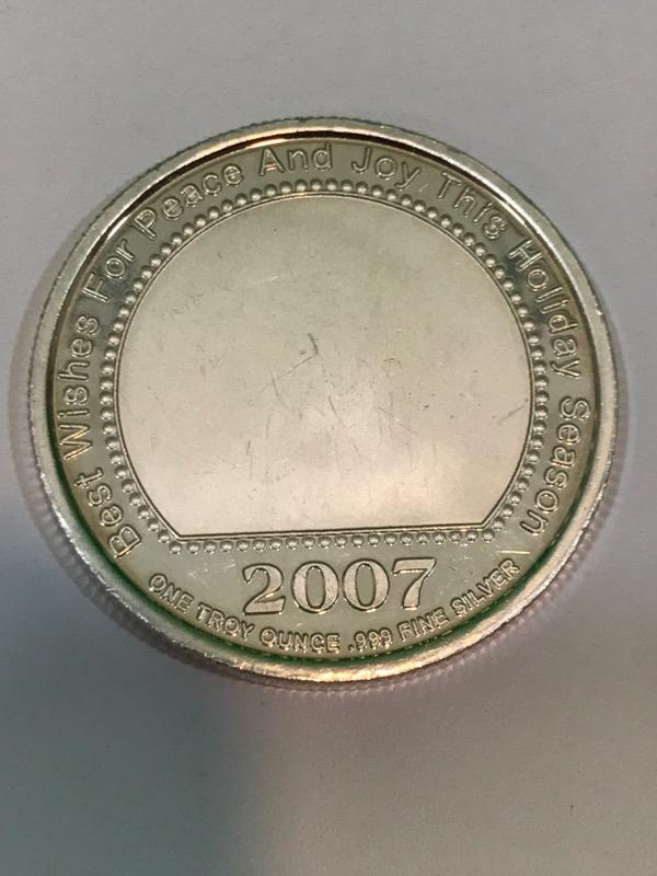 2007 HO HO HO Santa Winking 1 Troy Ounce (oz) .999 Fine Silver ROUND
