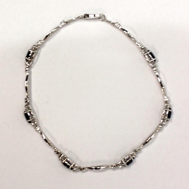 "7"" 10K White Gold Oval Cut Sapphire Bracelet"