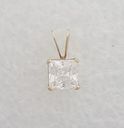 14K Solid Yellow Gold Princess Cut 4-Prong Set Cubic Zirconia Solitaire Pendant