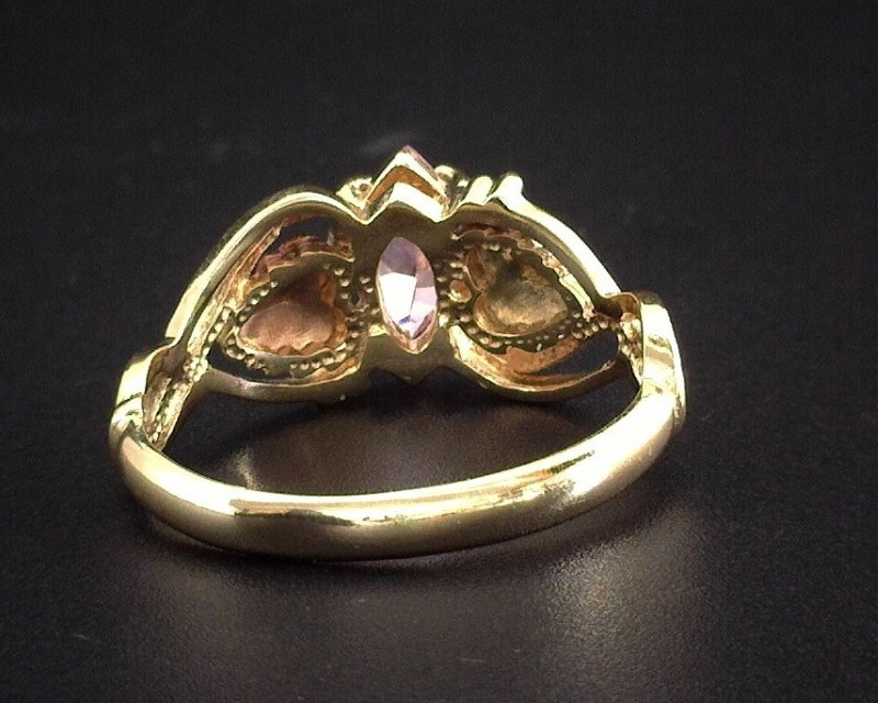 BLACK HILLS GOLD 10K LADY S RIGN WITH PINK MARQUISE STONE 2 6G SZ6