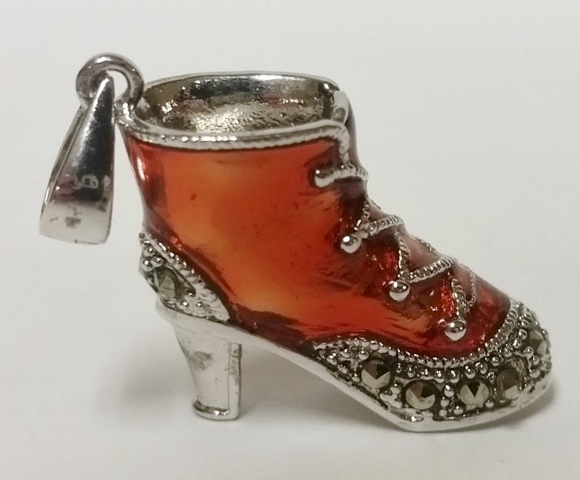Sterling Silver Marcasite Accented Orange Enamel Lace-Up High Heel Boot Pendant