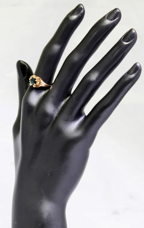 Emerald Lady's Stone Ring 14K Rose Gold 3.55g Fall
