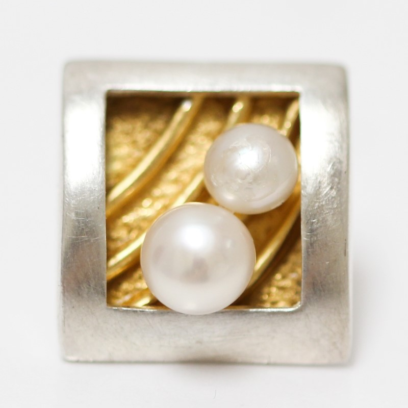 Square Frame Silver & Gold-Toned Sterling Silver Pearl Stud Earrings