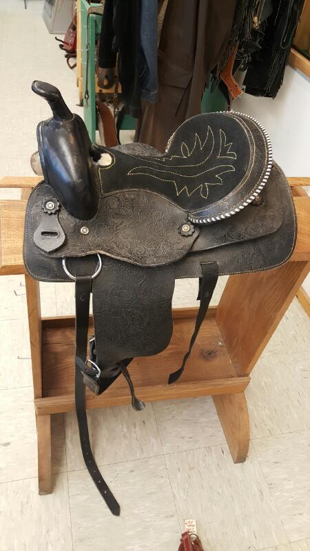 """B BAR B SADDLERY Western Kid's Saddle, 13"""", Black Tooled Leather"""