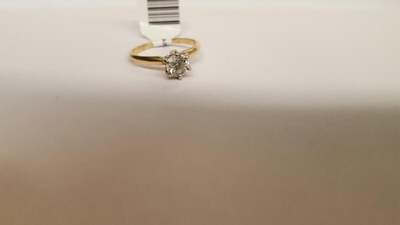 Lady's Diamond Solitaire Ring .66 CT. 14K Yellow Gold 4.34g Size:6.8