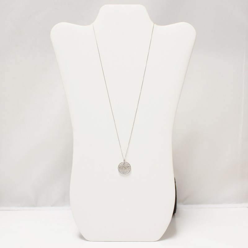 "Sterling Silver White Sapphire Cluster ""LOVE"" Pendant Necklace"