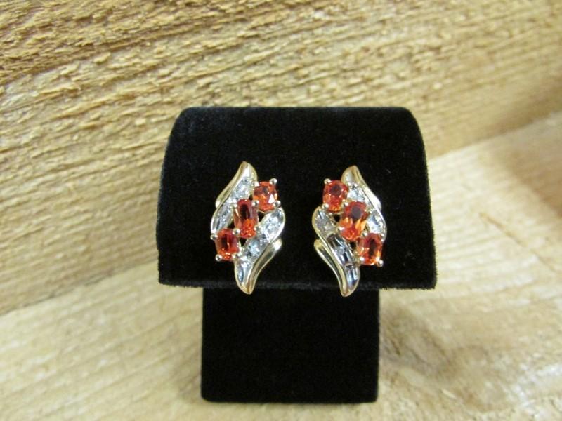 Synthetic Citrine Gold-Diamond & Stone Earrings 8 Diamonds .08 Carat T.W.