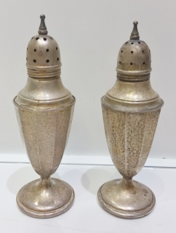 Vintage G H French & Co G.H.F Sterling Silver Weighted Salt & Pepper Shakers