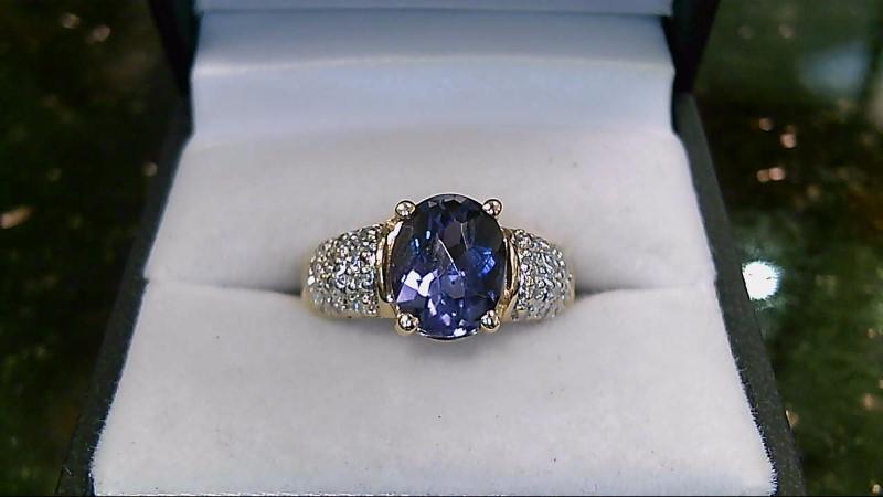 Iolite & Diamond 14K Yellow Gold Ring Sz 6.75