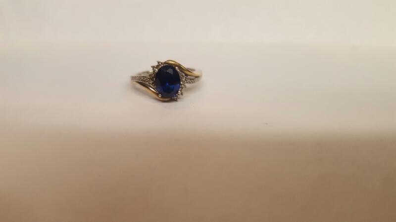 Blue Stone Lady's Stone Ring 10K White Gold 3.1g Size:6.8
