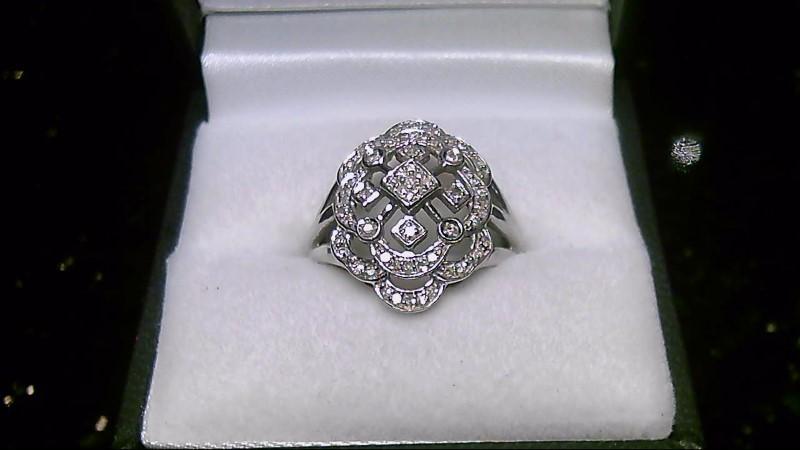 Antique 14K White Gold 68 Diamond Ring 4.8G Sz 6.75