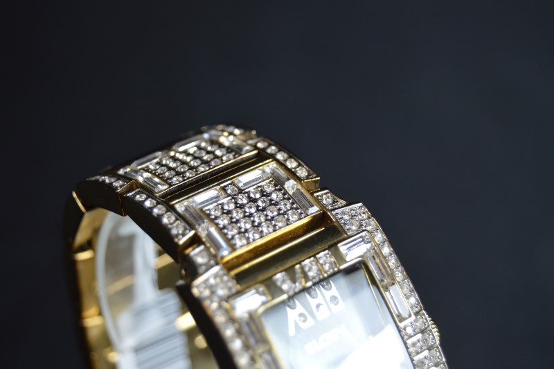 Elgin Iced Rectangle Dress Bracelet Watch FG1016B