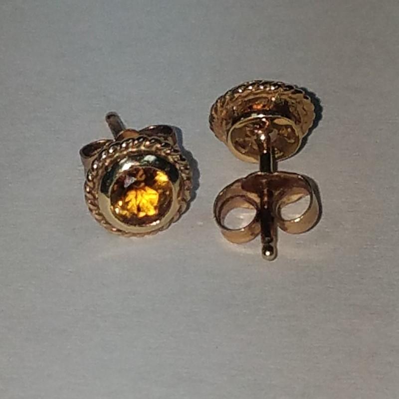 Citrine Gold-Stone Earrings 14K Yellow Gold 1.4g