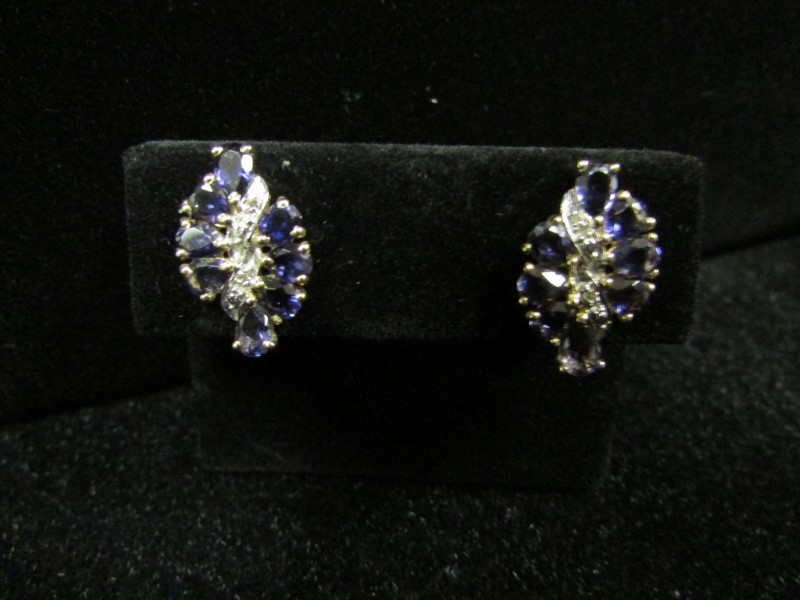 Blue Stone Gold-Diamond & Stone Earrings 4 Diamonds .04 Carat T.W.