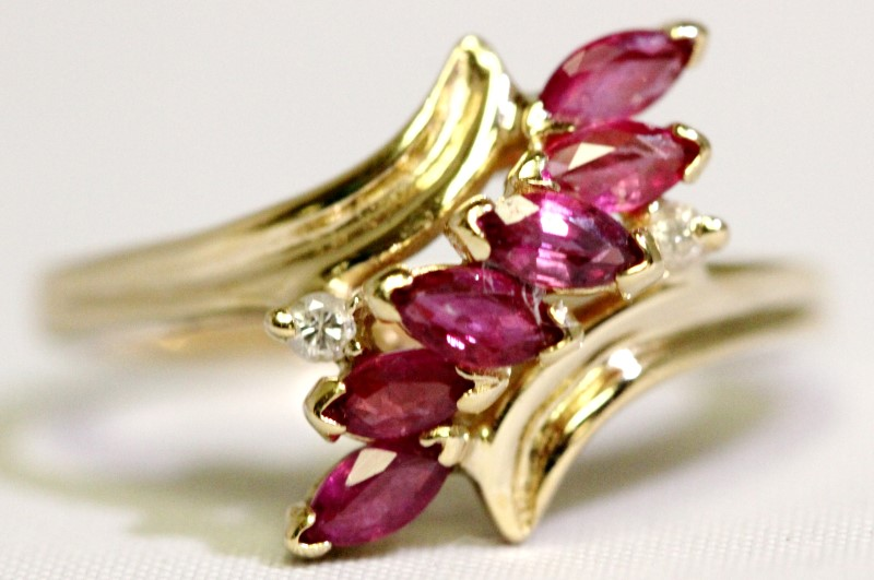 Effy BH 14K Yellow Gold Bypass Shank Marquise Ruby & Diamond Cocktail Ring 6.5