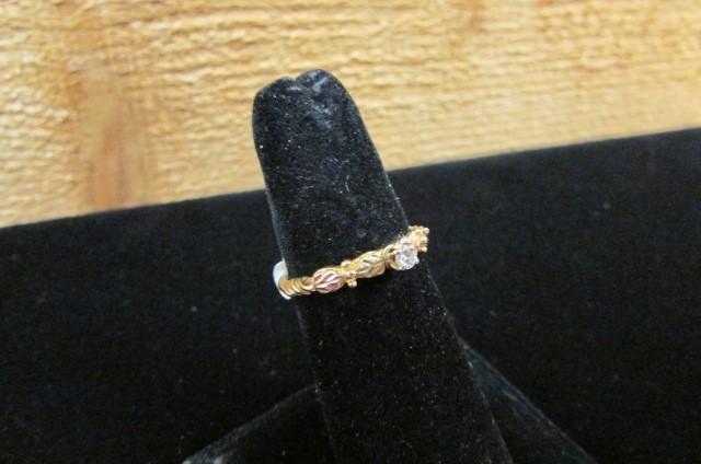 Lady's Diamond Fashion Ring .07 CT. 10K Tri-color Gold 1.5g Size:6.7
