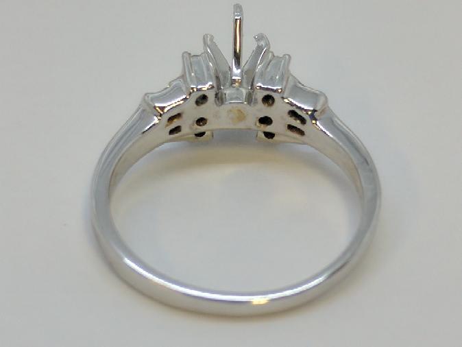Lady's Diamond Engagement Ring Mount .18 Carat T.W. 14K White Gold 3.9g