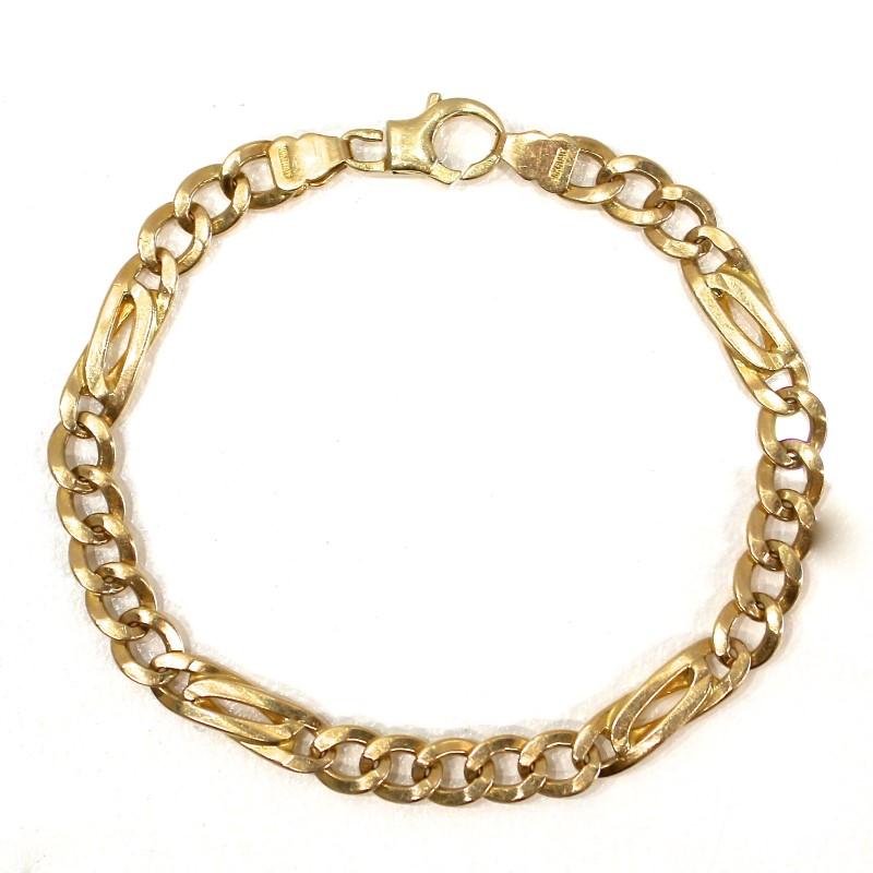 "9"" 10K Yellow Gold Figaro Bracelet 19 Gram Weight"