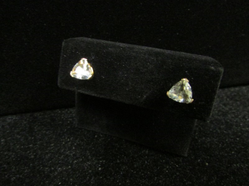 Synthetic Aquamarine Gold-Stone Earrings 14K Yellow Gold 0.7g