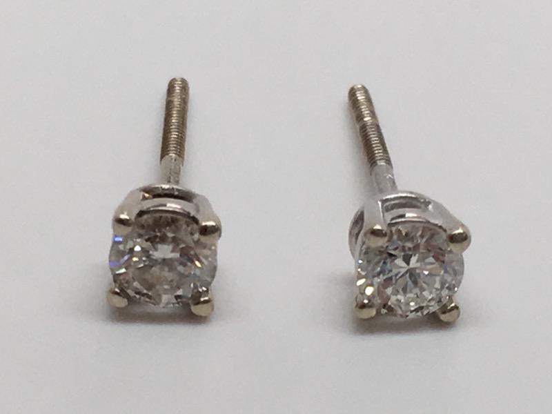 DIAMOND STUD EARRINGS 14K WHITE GOLD