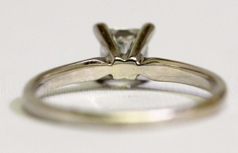 14K White Gold 4 Prong Set .65ct Princess Cut Classic Diamond Engagement Ring