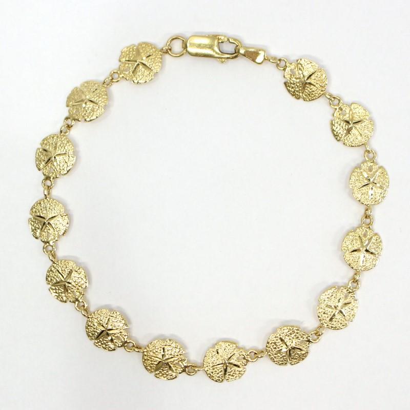 "7"" 14K Yellow Gold Sand Dollar Bracelet"