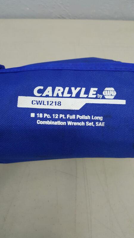 Carlyle CWL1218 SAE Combo Wrench Set 18PC 12pt Bundle w/ Cloth Wrap