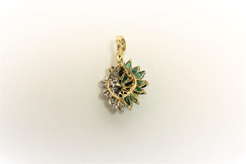 Emerald Gold-Diamond & Stone Pendant 21 Diamonds .21 Carat T.W. 14K Yellow Gold