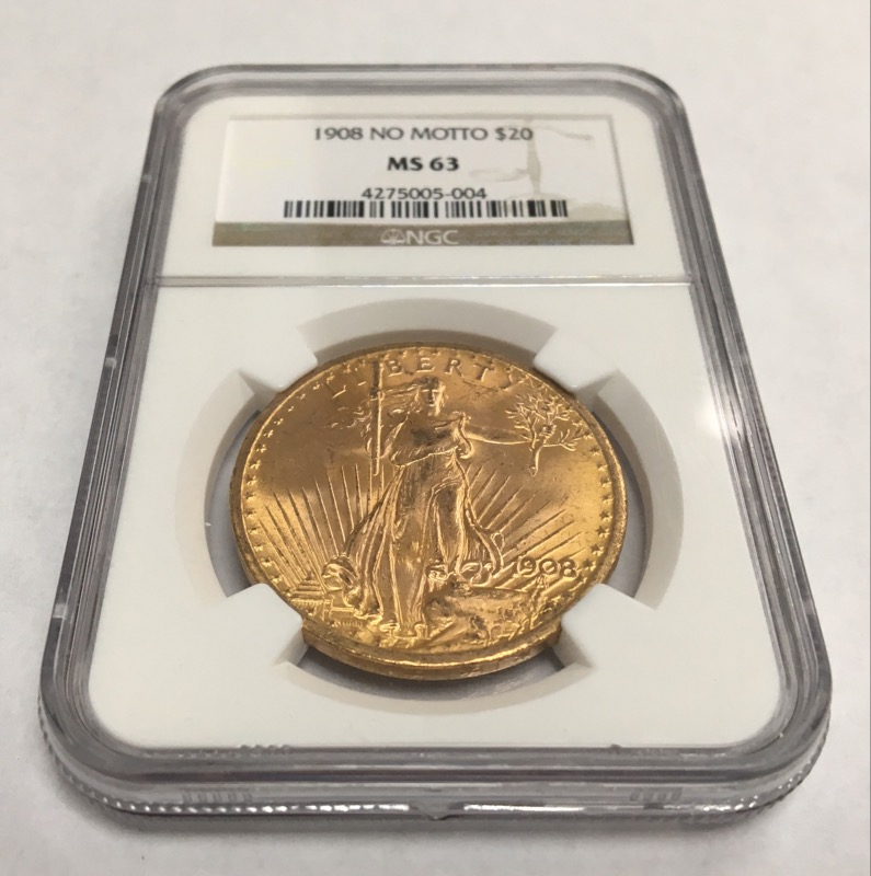 UNITED STATES Gold Coin 1908 NO MOTTO $20