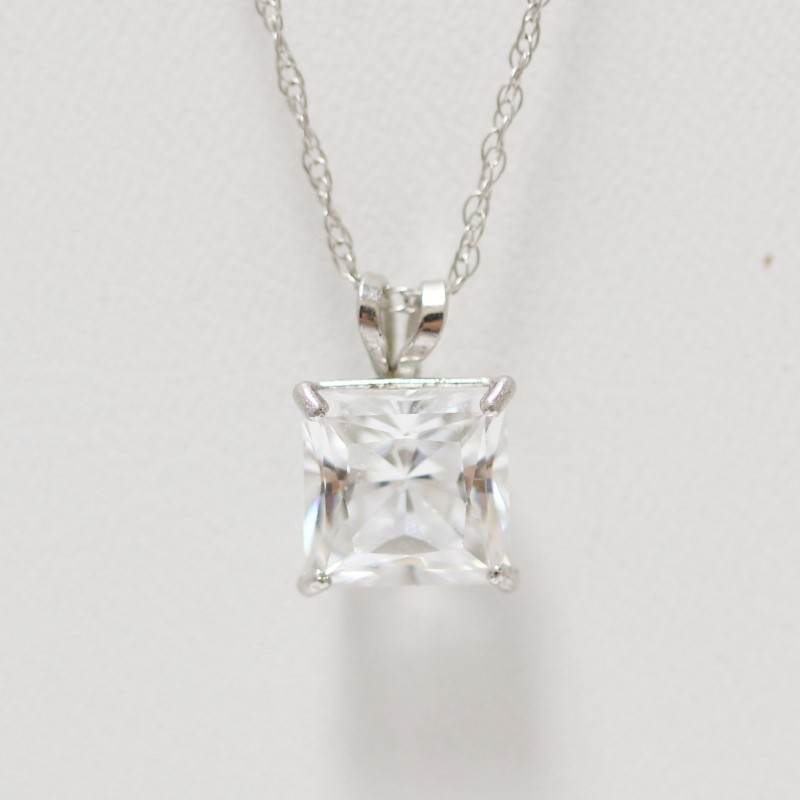 """18"""" 10K White Gold Princess Cut Cubic Zirconia Pendant and Chain"""