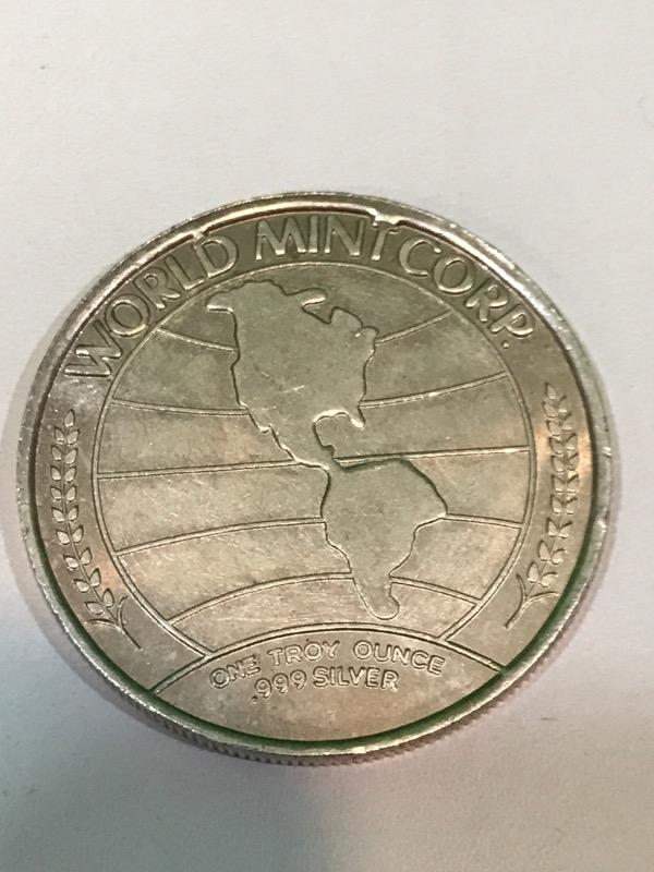 1973 WORLD MINT CORP SILVERADO ONE OUNCE .999 SILVER ROUND