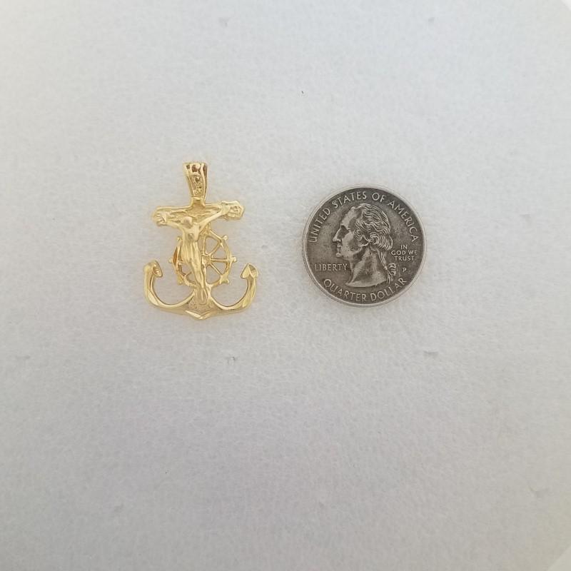 14K Solid Yellow Gold Diamond Cut Anchor & Cross Crucifix Religious Pendant