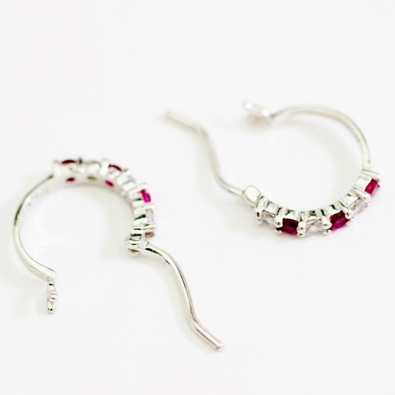 Sterling Silver Round Cut Ruby Hoop Earrings