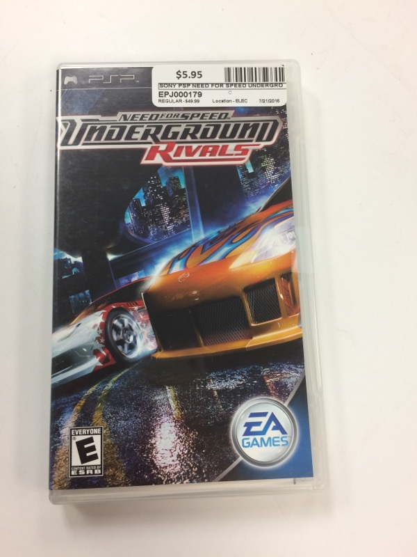 SONY Sony PSP Game NEED FOR SPEED UNDERGROUND RIVALS PSP