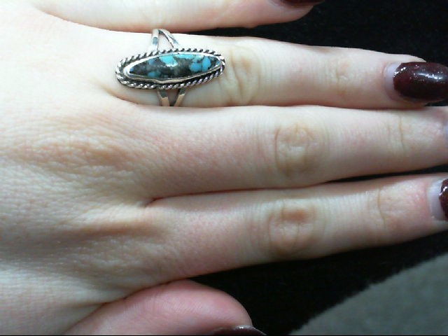 Lady's Silver Turquoise Ring 925 Silver 2.8g Size 5.5