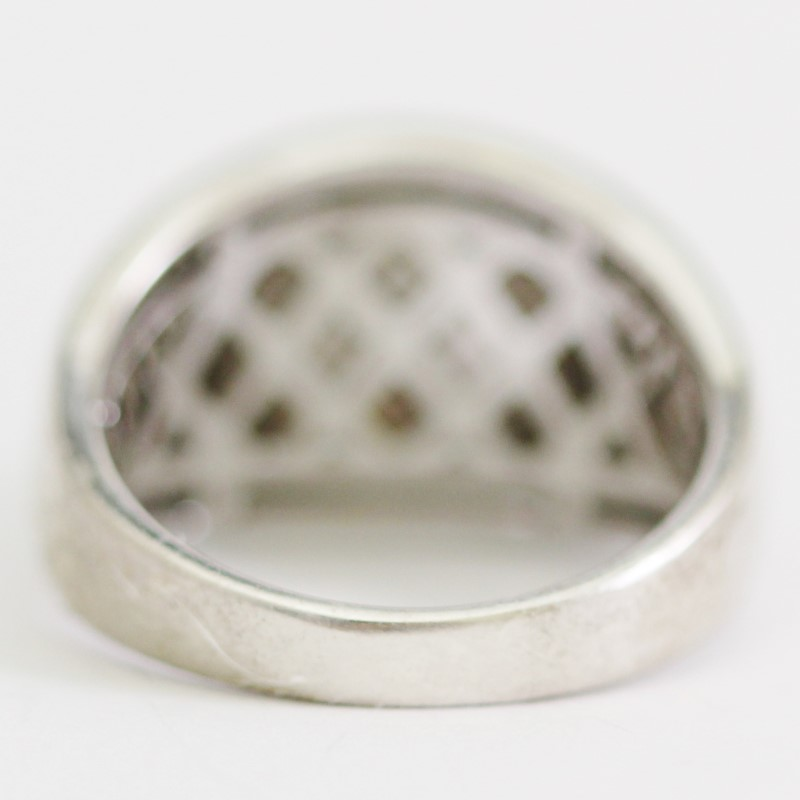 Sterling Silver Dome Round CZ Trellis Ring Size 7