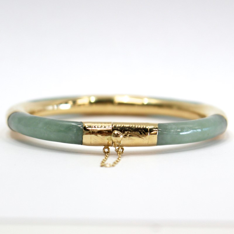 Jade and 14K Yellow Gold Bangle Bracelet