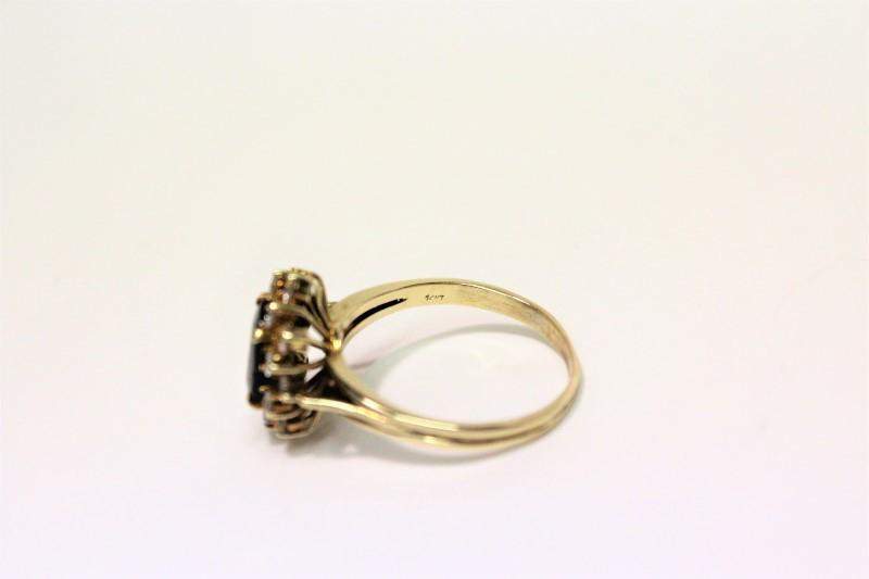 Sapphire Lady's Stone & Diamond Ring 16 Diamonds .64 Carat T.W. 14K Yellow Gold