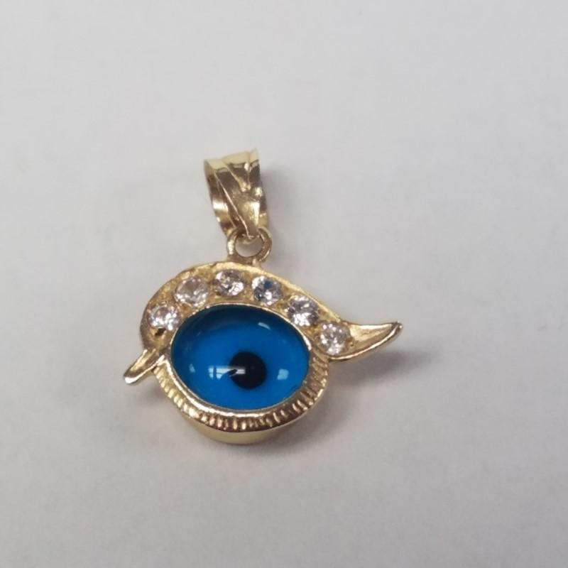 14K Yellow Gold Unique Enamel & Glass Blue Eye Pendant w/ CZ Eyebrows