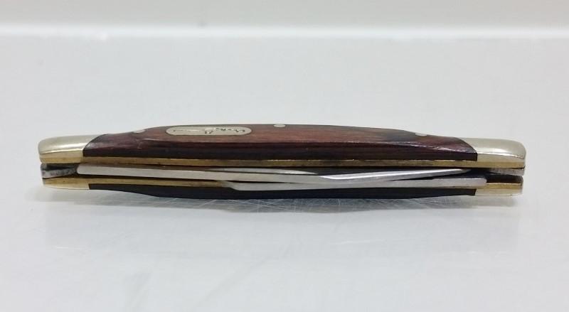 Buck 375 Duece Two 2 Blade Stockman Wood Grain Pocket Knife