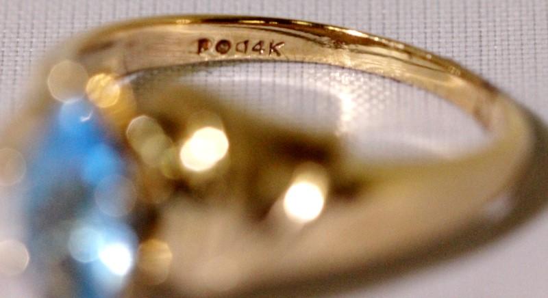 14K Yellow Gold Large Marquise Blue Topaz Satin Finish Ribbon Wrap Ring sz 7.25