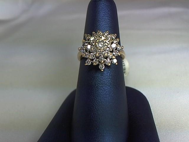 Lady's Diamond Cluster Ring 34 Diamonds 14K Yellow Gold