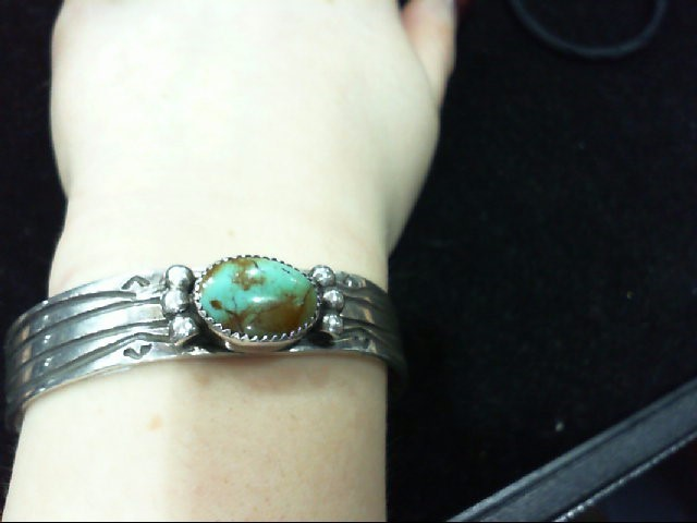 Silver 925 & Turquoise Signed Bracelet CUFF 30.5g