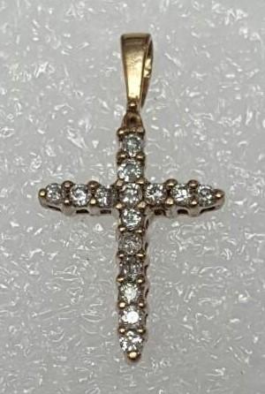 14K Yellow Gold Shared Prong Diamond Encrusted Christian Cross Crucifix Pendant