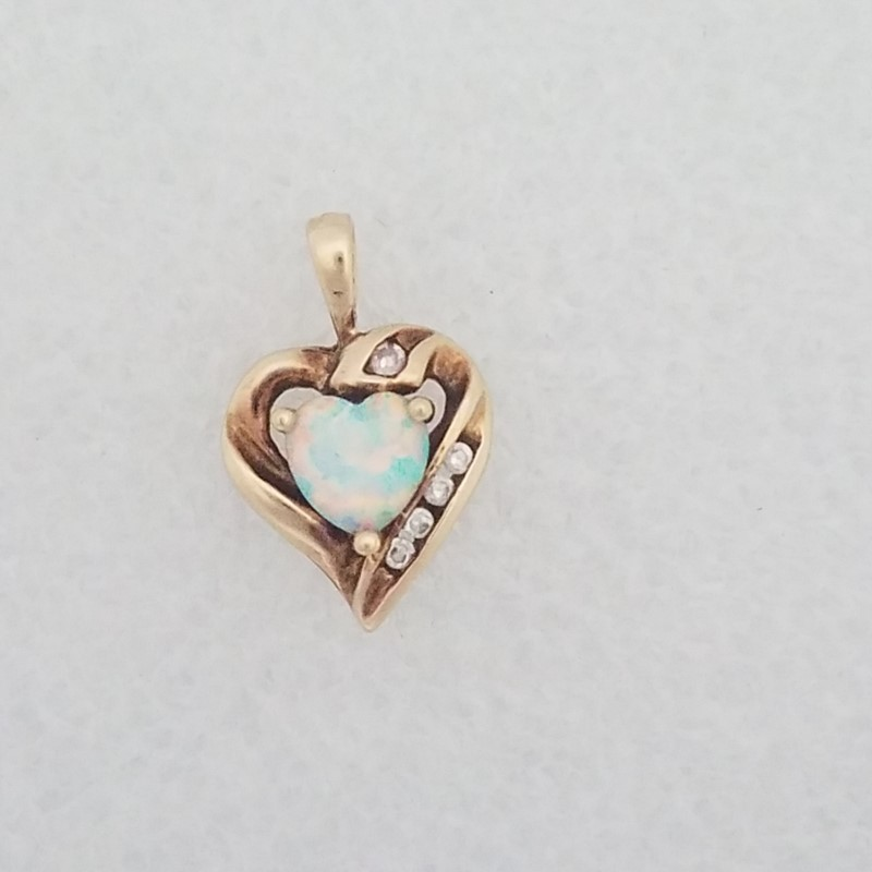 OPAL AND WHITE STONE PENDANT 10K YELLOW GOLD 1.4g