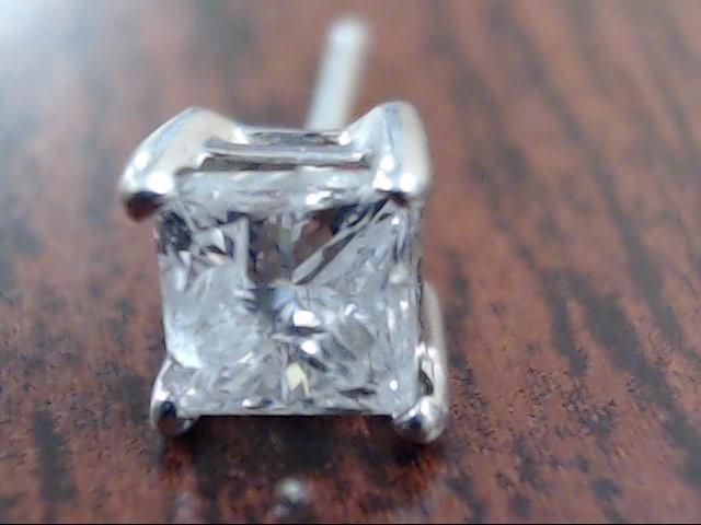 PRINCESS CUT NATURAL DIAMOND 0.40tcw SINGLE EARRING 14k WHITE GOLD