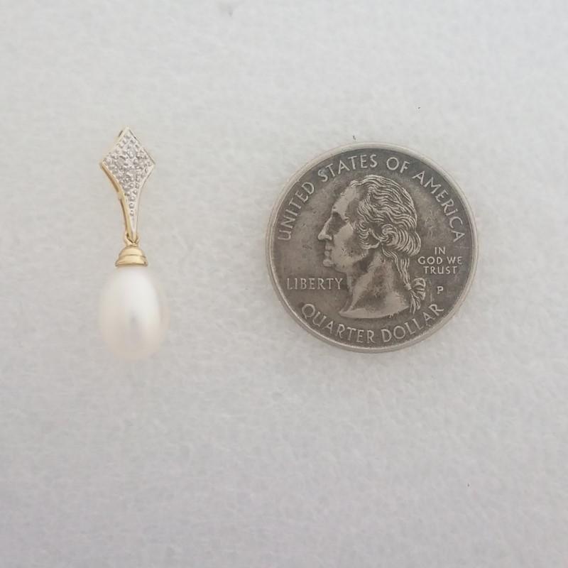 14K 2-Tone Yellow & White Gold Diamond and Single Pearl Drop Slide Pendant